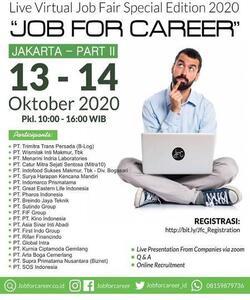Jakarta Live Virtual Job Fair JOB FOR CAREER 2020 Part II